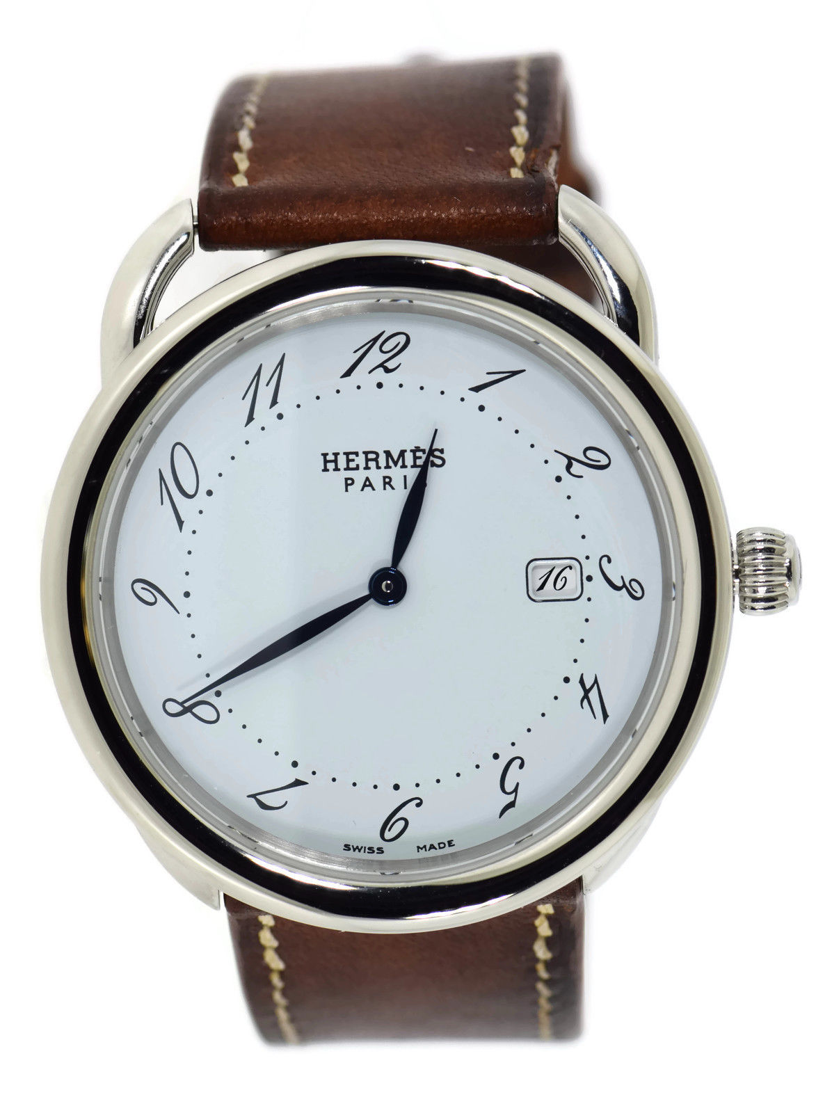 "Image of ""Hermes Arceau Ar5.710 Stainless Steel & Leather Quartz 38mm Mens Watch"""
