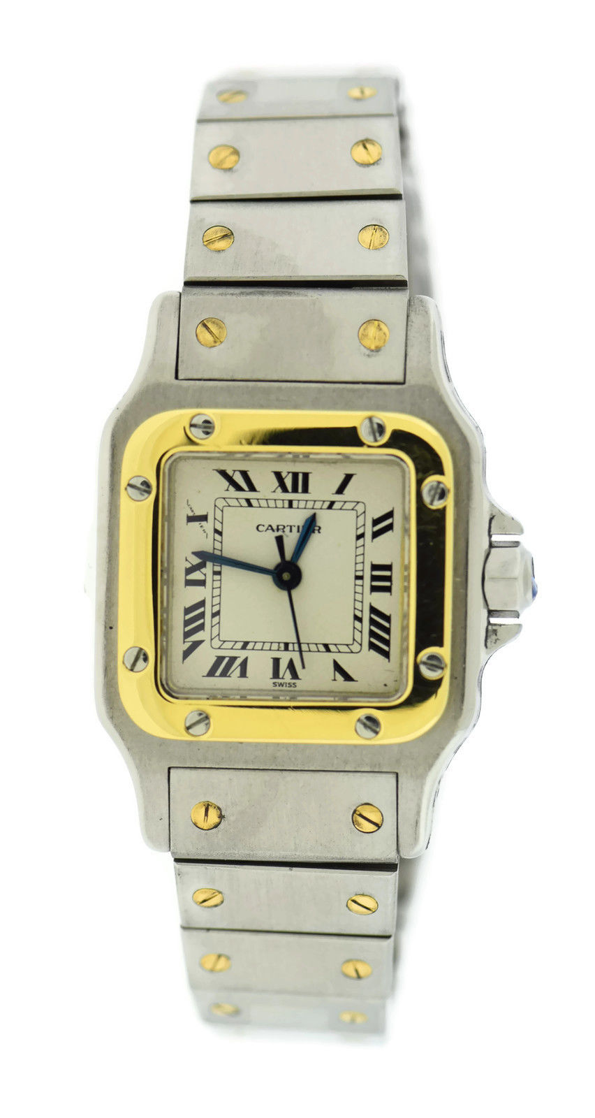 """Image of """"Cartier Santos 18K Yellow Gold Stainless Steel Quartz 24mm Womens"""""""