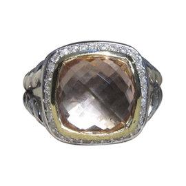 David Yurman Albion 18K Yellow Gold & 925 Sterling Silver With Morganite & Diamond Ring Size 7