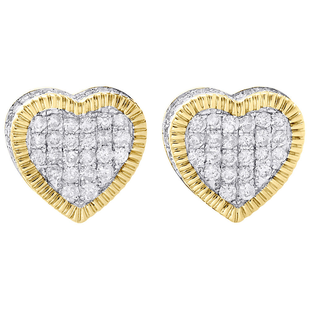 "Image of ""10K Yellow Gold with 0.88ct Pave Diamond 3D Heart Cluster Stud"""