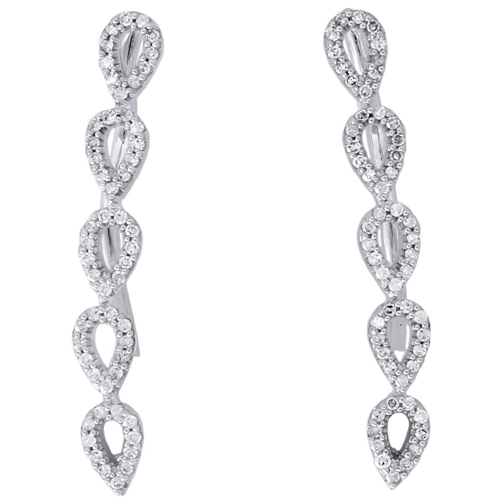"Image of ""10K White Gold with 0.25ct Round Diamond Tear Drop Climber Earrings"""