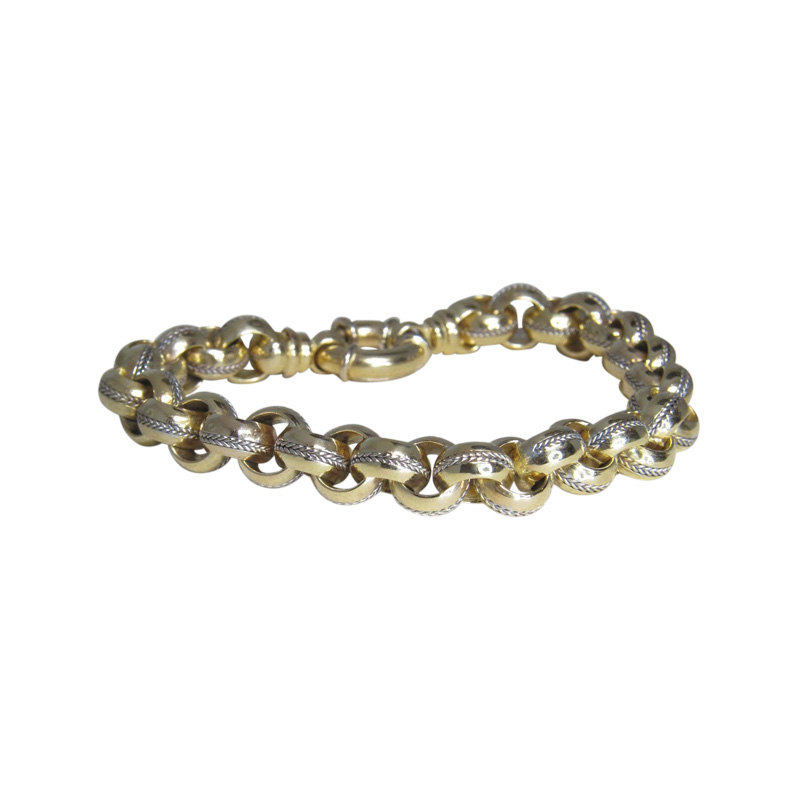 "Image of ""Braka Brev 18K Yellow & White Gold Rolo Link Braid Bracelet"""