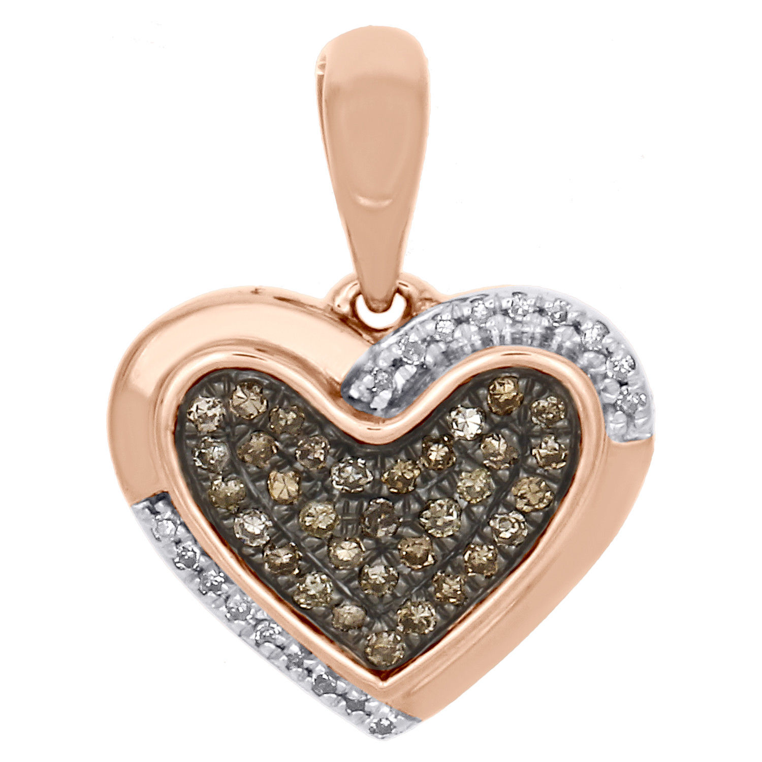 "Image of ""10K Rose Gold 0.15ct of White & Brown Diamond Double Frame Heart"""