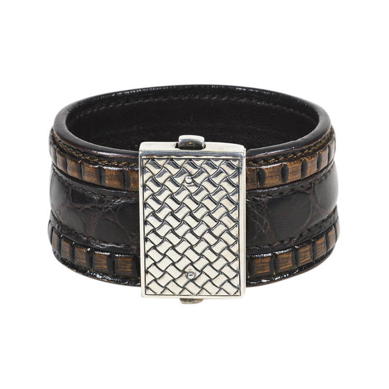 "Image of ""Bottega Veneta 925 Sterling Silver & Brown Leather Intrecciato"""