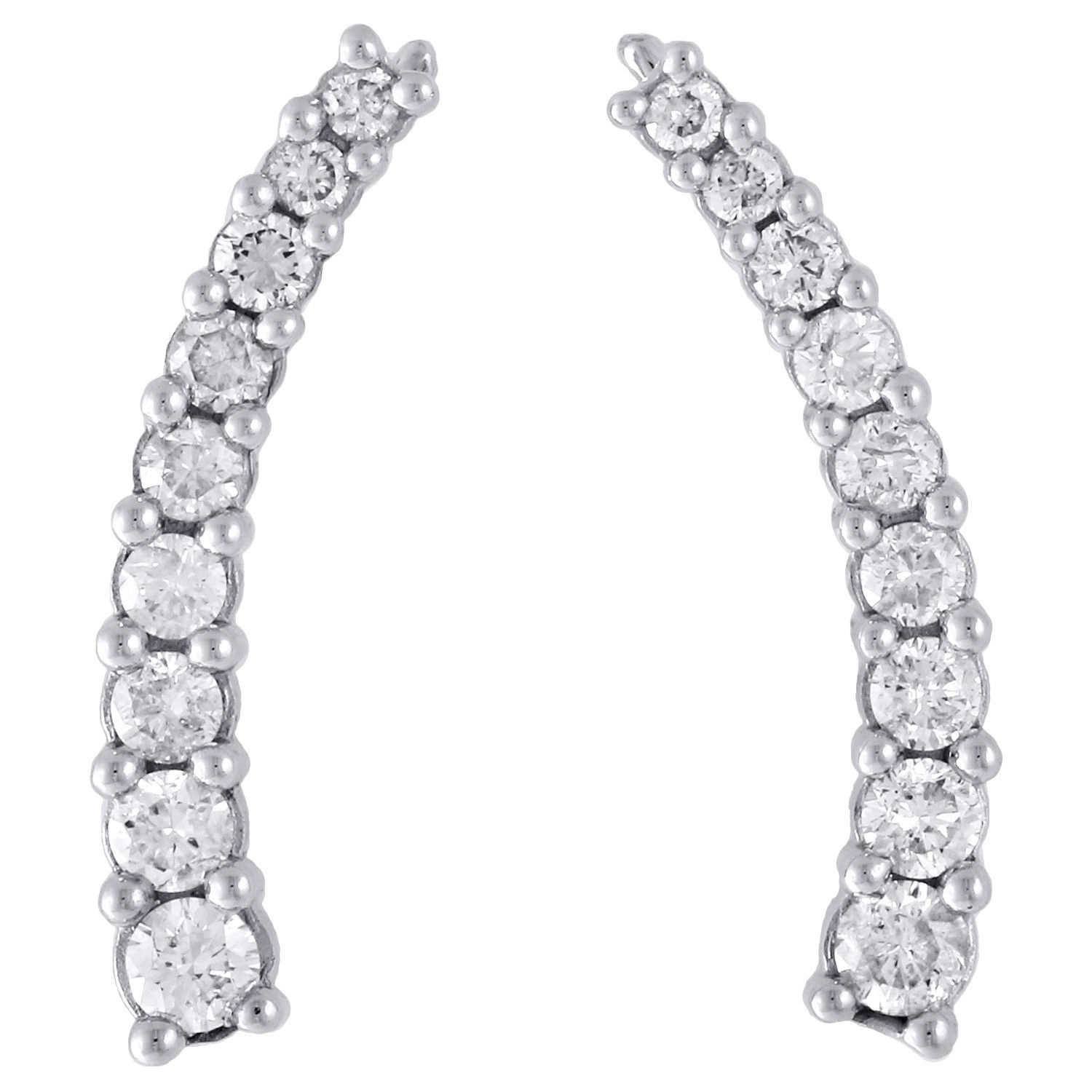 "Image of ""10K White Gold 1ct Diamond Prong Set Ear Climbers Earrings"""