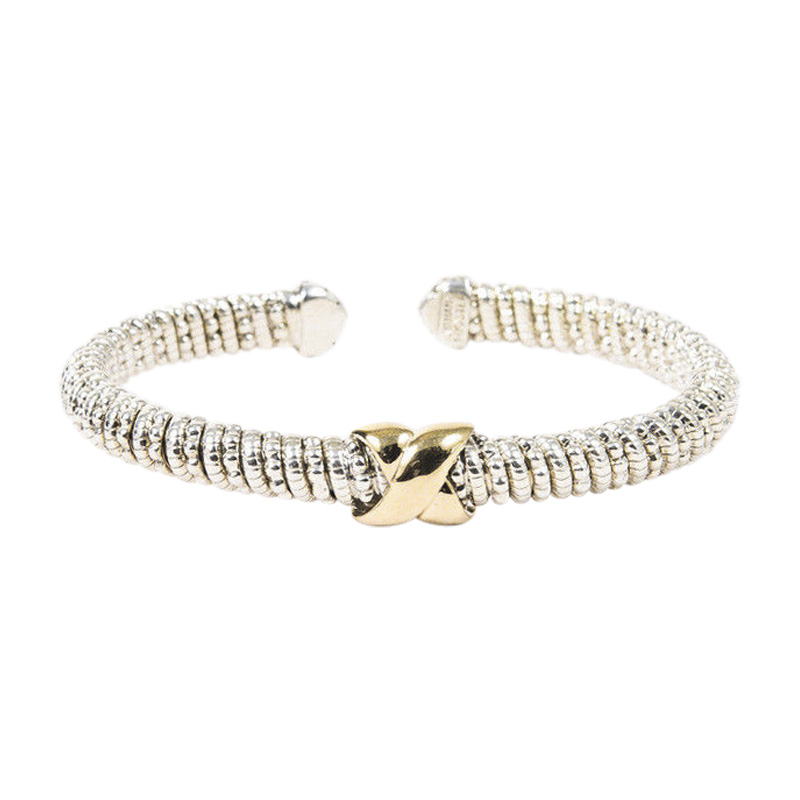 "Image of ""Alwand Vahan 925 Sterling Silver & 14K Yellow Gold 'X' Twisted Cuff"""