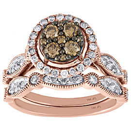 14K Rose Gold with 1.00ct Brown and White Diamond Flower Engagement and Wedding Ring Size 7