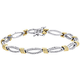 14K White & Yellow Gold 1ct Diamond Rope Milgrain Oval Link Bracelet