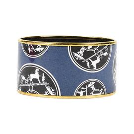 Hermes Gold Tone Hardware & Enamel Extra Wide Printed Bracelet