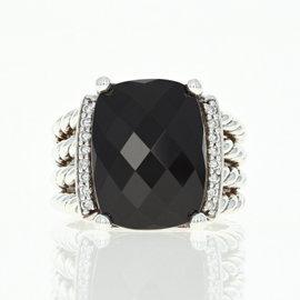 David Yurman 925 Sterling Silver 0.12ct Round Diamond Wheaton Onyx Ring Size 6.75