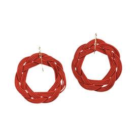 Tiffany & Co. Elsa Peretti 18K Yellow Gold & Woven Silk Circle Hook Earrings