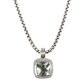 David Yurman Albion 925 Sterling Silver & 18K Yellow Gold with Diamond & Prasiolite Necklace