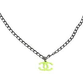 Chanel Resin Gunmetal Neon Green CC Necklace