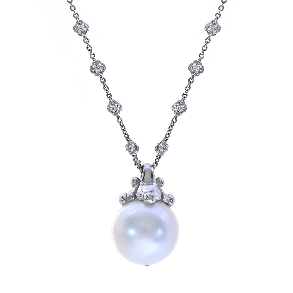 "Image of ""Paul Morelli 18K White Gold South Sea Pearl & Diamond Necklace"""