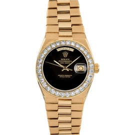 Rolex Day-Date 19018 18K Yellow Gold & Black Onyx Dial 36mm Mens Watch