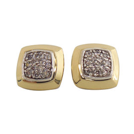 David Yurman Sterling Silver 18K Gold .36tcw Pave Diamond Cushion Stud Earrings