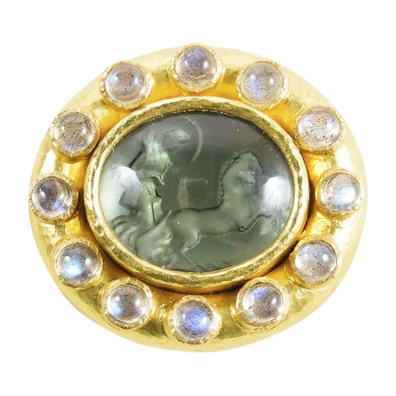 "Image of ""Elizabeth Locke 19K Yellow Gold Blue Venetian Glass Horse Chariot Pin"""