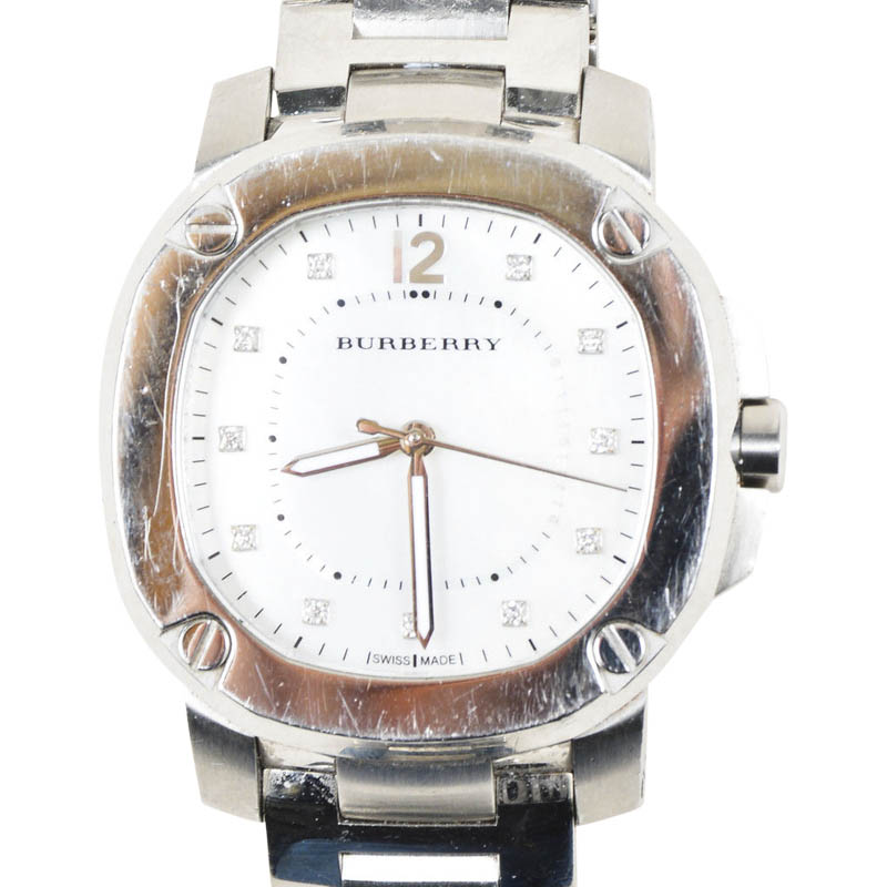 "Image of ""Burberry Britain Stainless Steel Diamond Mother of Pearl Crystal"""