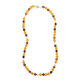 Chanel Yellow Brown Resin Faux Pearl Beaded Single Strand Necklace
