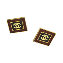Chanel Gold Tone Red & Black Leather 'CC' Square Clip On Earrings