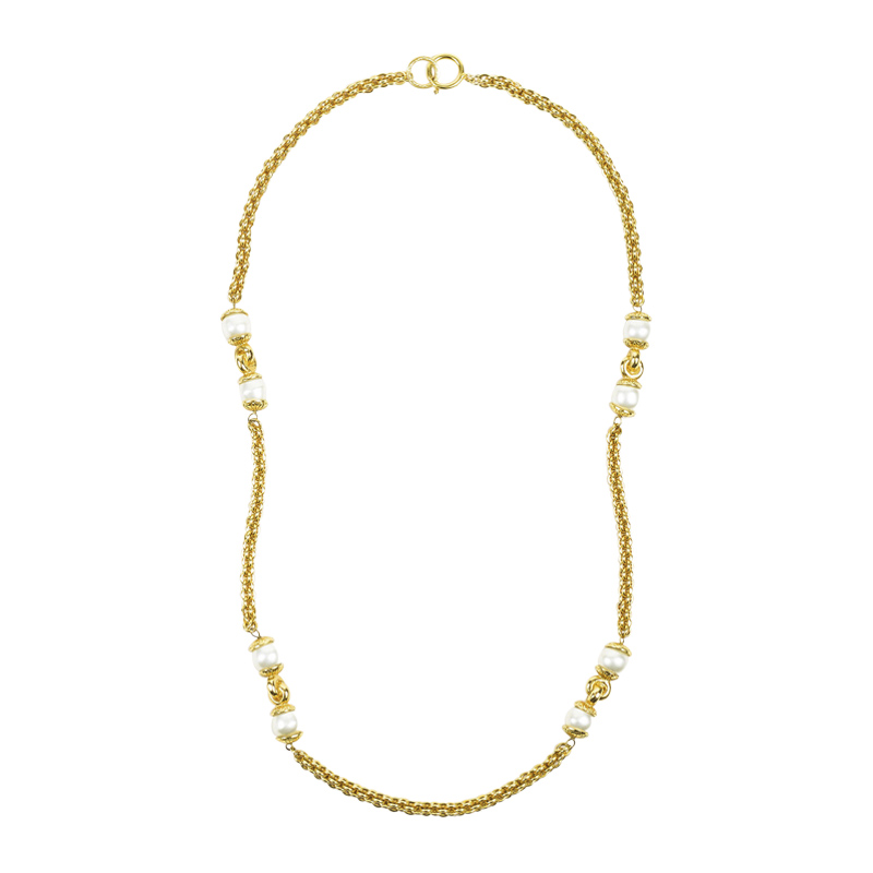"Image of ""Chanel Gold Tone Metal Faux Pearl Single Strand Long Chain Necklace"""