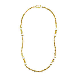 Chanel Gold Tone Metal Faux Pearl Single Strand Long Chain Necklace