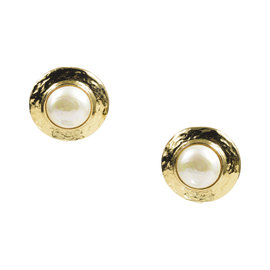 Yves Saint Laurent Gold Tone Metal & Faux Pearl Round Clip On Earrings