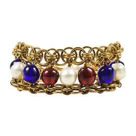 Chanel Gold Tone Blue Red Faux Pearl Beaded Layered Chain Link Bracelet