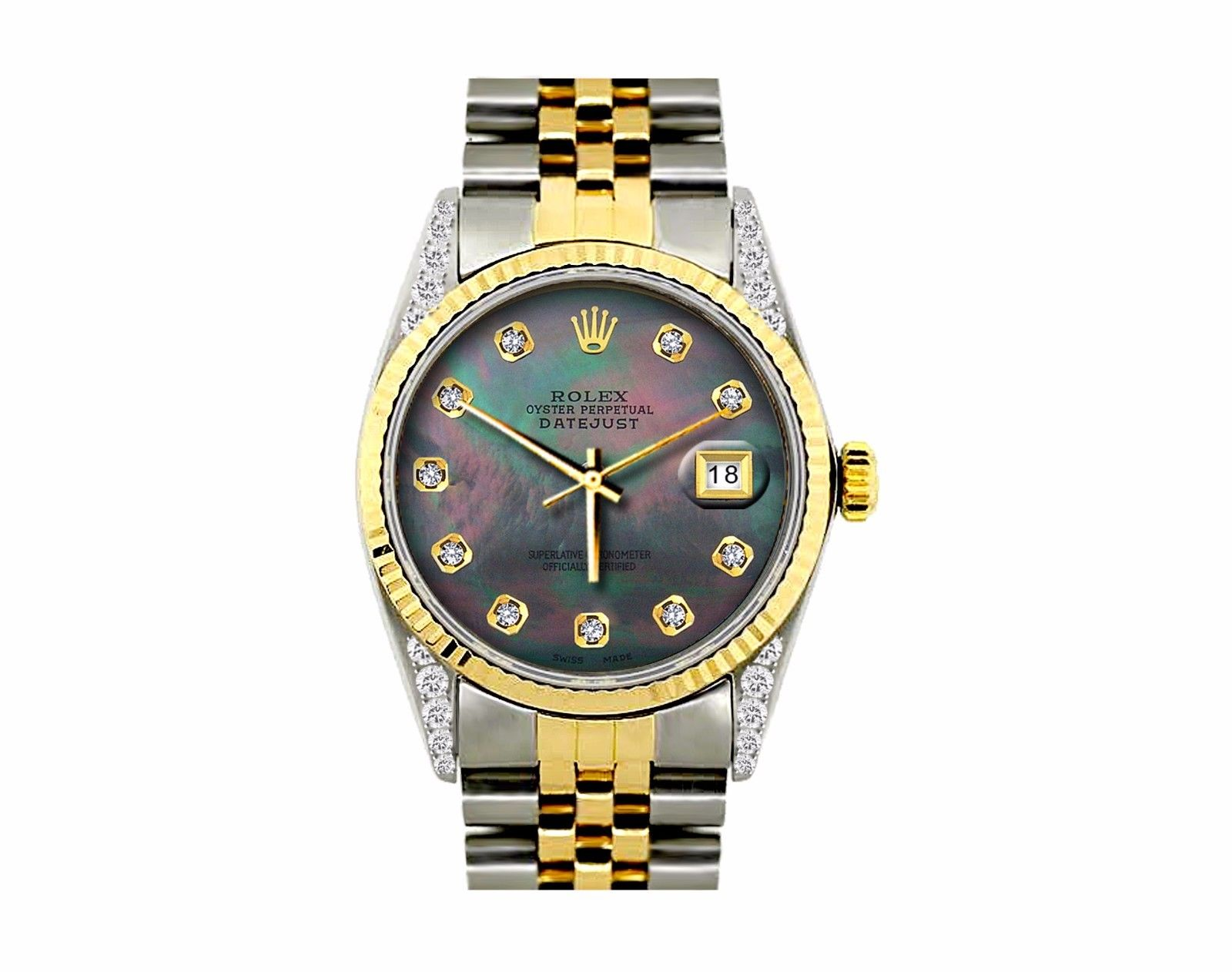 "Image of ""Rolex Datejust 18K Yellow Gold & Stainless Steel Diamond & Black"""