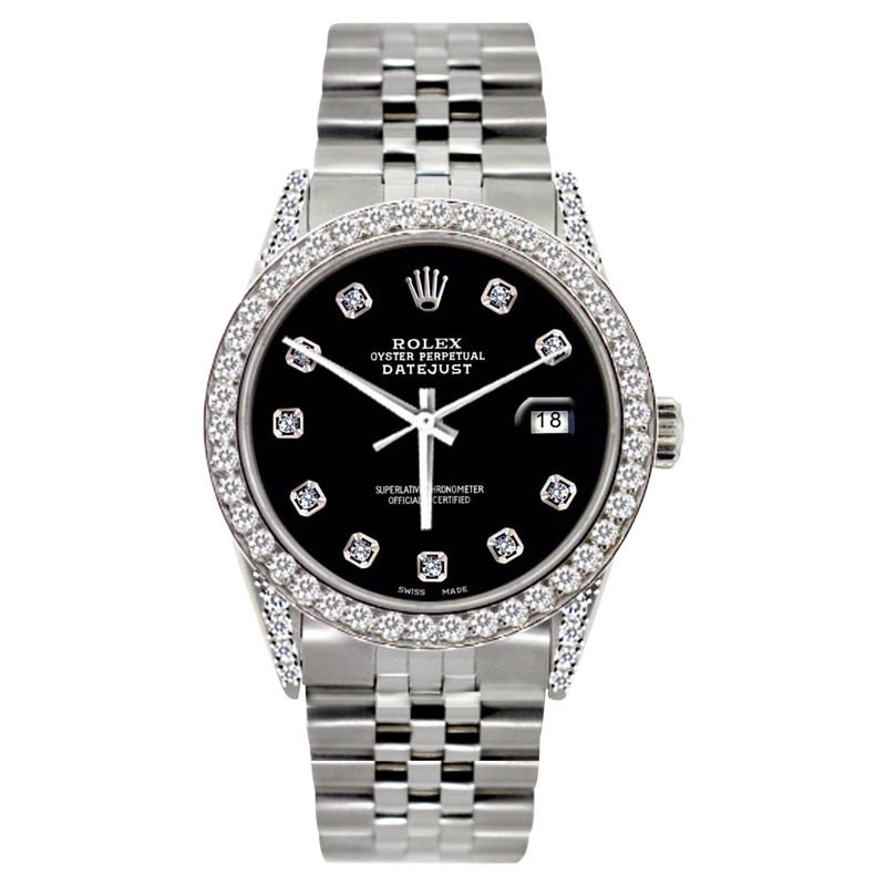 """Image of """"Rolex Stainless Steel 2.5ct Diamond Black Dial Watch"""""""