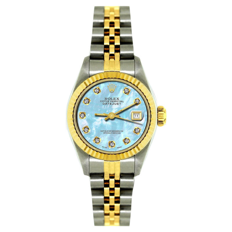 """Image of """"Rolex 18K Yellow Gold & Stainless Steel Blue Mother of Pearl 26mm"""""""