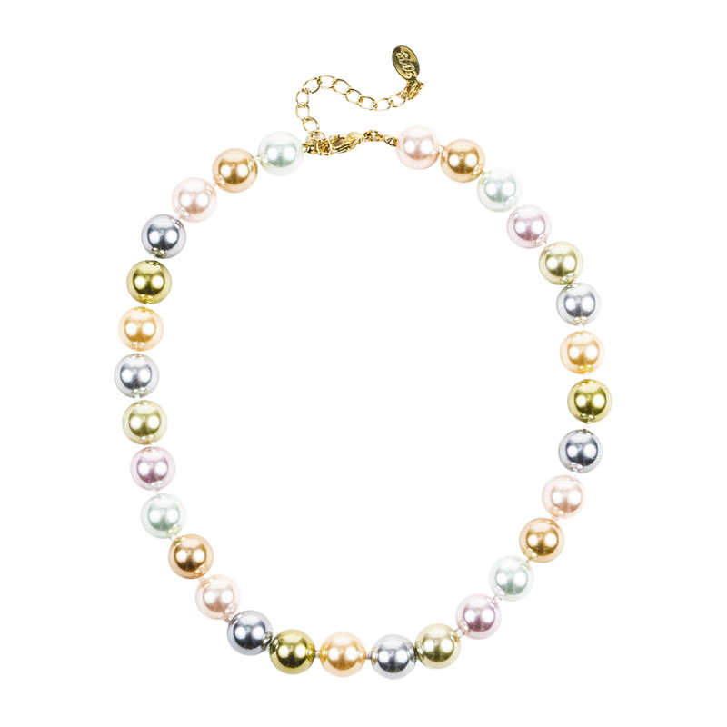 "Image of ""Kenneth Jay Lane Gold Tone Metal & Multicolor Faux Pearl Beaded"""