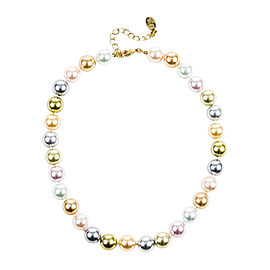 Kenneth Jay Lane Gold Tone Metal & Multicolor Faux Pearl Beaded Necklace