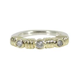 Lagos Sterling Silver 18K Yellow Gold .10tcw 3mm Three Diamond Stack Ring - Retail $1200