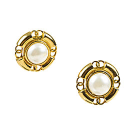 Chanel Gold Tone Metal & Cream Faux Pearl Cut Out 'CC' Clip On Earrings