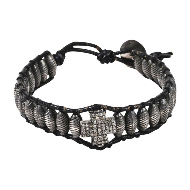 "Image of ""Chan Luu Black 925 Sterling Silver/Leather & Diamond Cross Beaded Cord"""