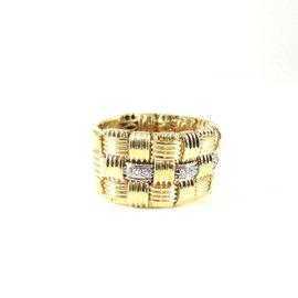 Roberto Coin 18K Yellow Gold~White Gold .31tcw Three Row Diamond Appassionata Band Ring