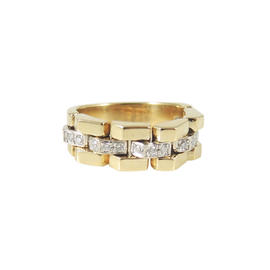 Chimento 18K Yellow Gold .15ct. Diamond Double Classic Link Ring Size 7