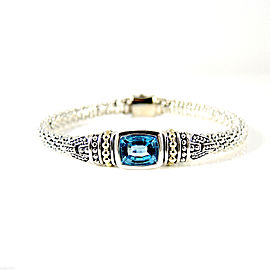 Lagos Sterling Silver 18K Yellow Gold 6mm Caviar Color Swiss Blue Topaz Bracelet