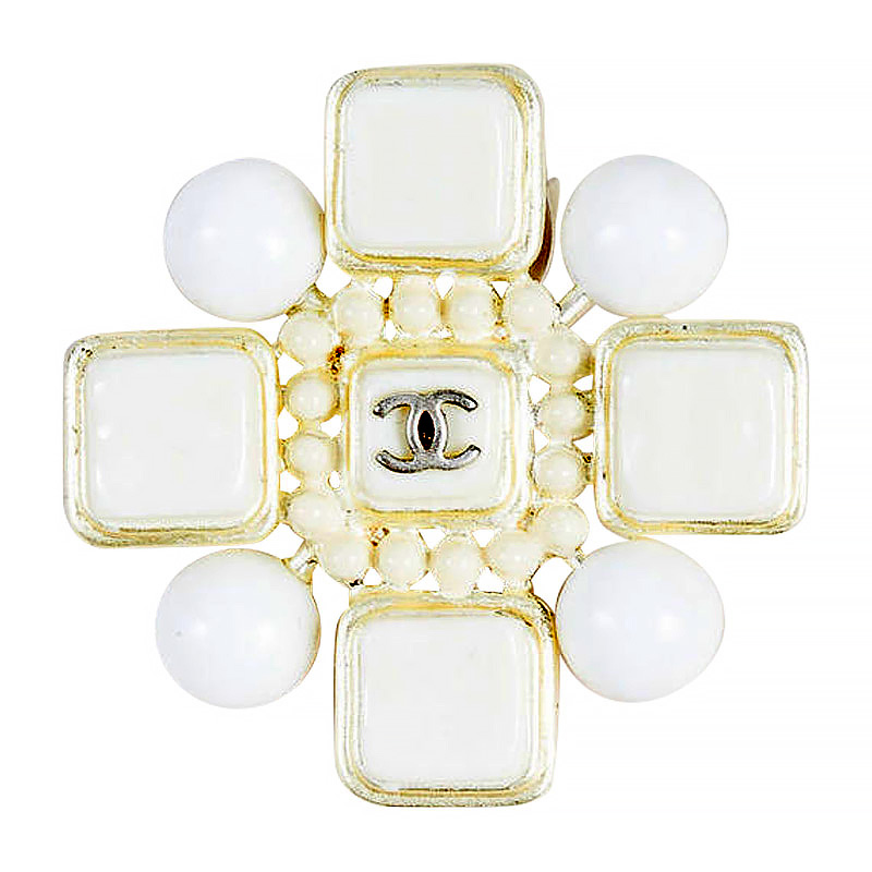 "Image of ""Chanel 04C Gold Tone, White Enamel & Resin Cube Dotted 'cc' Maltese"""