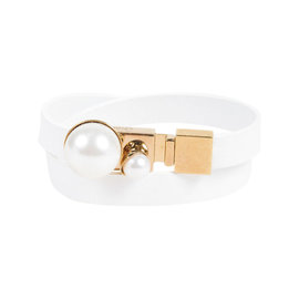 Christian Dior White & Gold Tone Metal Leather Resin Bead