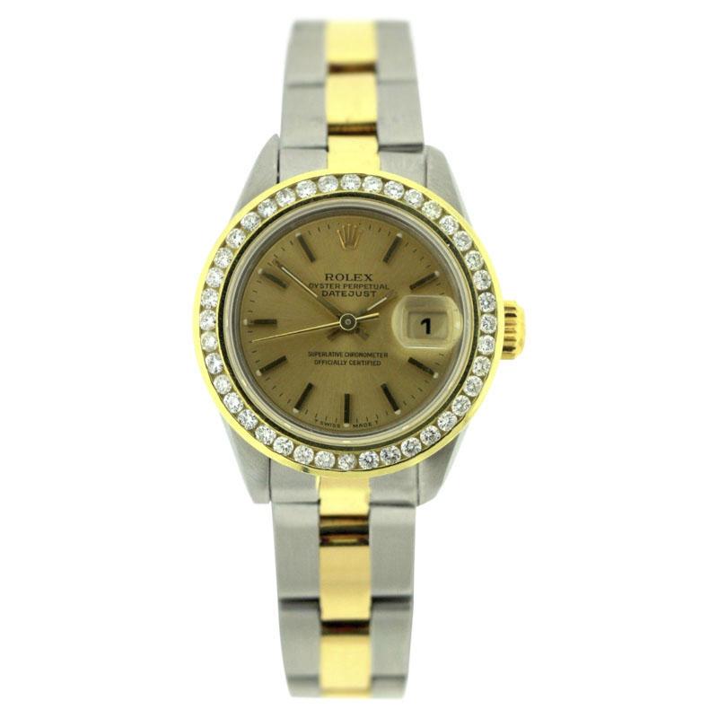 "Image of ""Rolex Datejust Yellow Gold & Stainless Steel Diamond Bezel 26mm Womens"""