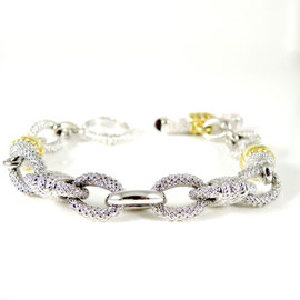 Judith Ripka Two Sterling Silver 18K Yellow Gold .12tcw Diamond Amethyst Convertible Oval Link Toggle Bracelet