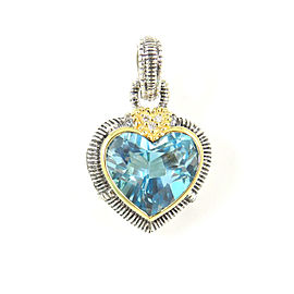 Judith Ripka Two Sterling Silver 18K Yellow Gold .03tcw Blue Topaz Diamond Heart Enhancer