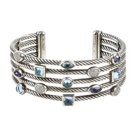 David Yurman 925 Sterling Silver Blue Topaz Iolite 0.28ct. Diamond