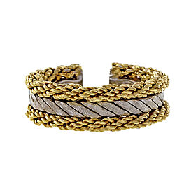Buccellati 18K Yellow and White Gold Rope Florentine Ring Size 7