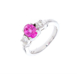Platinum with Pink Natural Sapphire & Diamond Engagement Ring Size 6.5