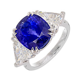 Vintage Platinum Natural No Heat 9.44ct Sapphire & Diamond Ring Size 7