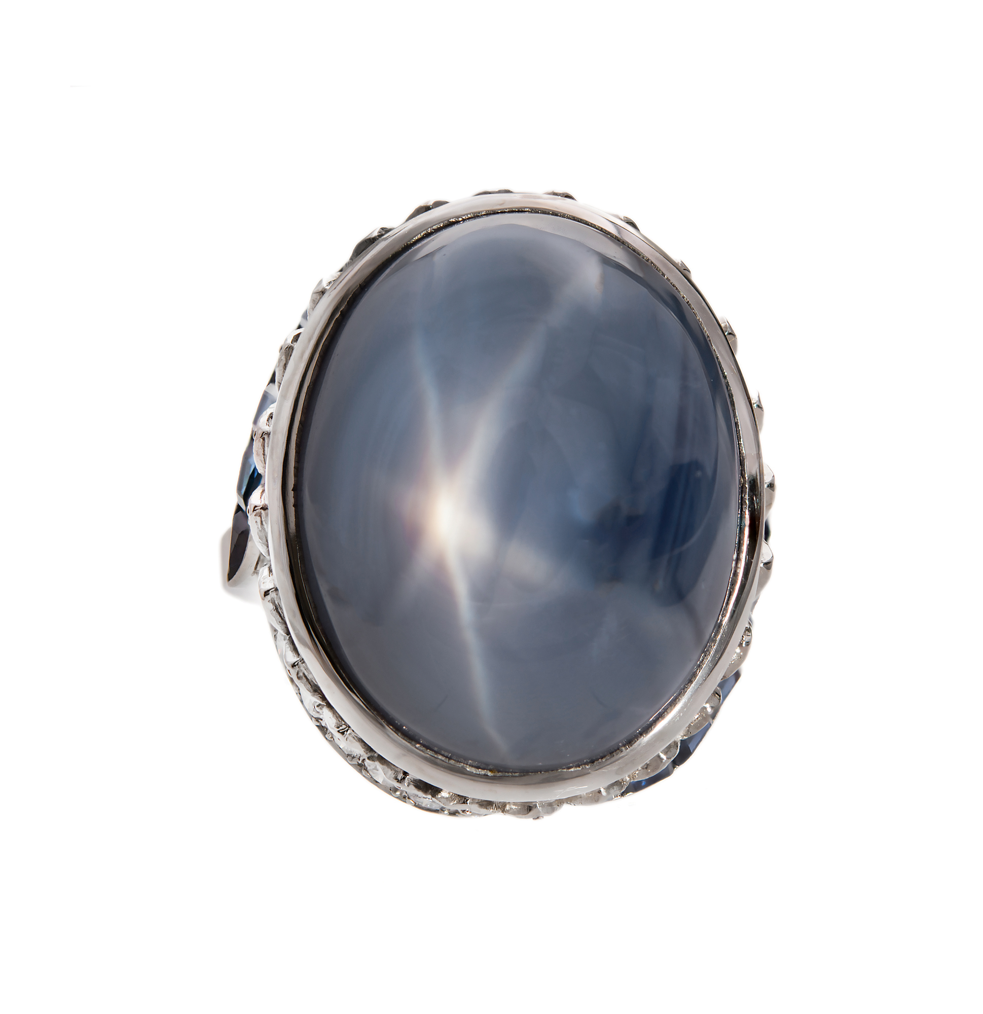 """""Vintage 18K White Gold with 52.5ct Star Sapphire & Diamond Ring Size"""""" 2138704"