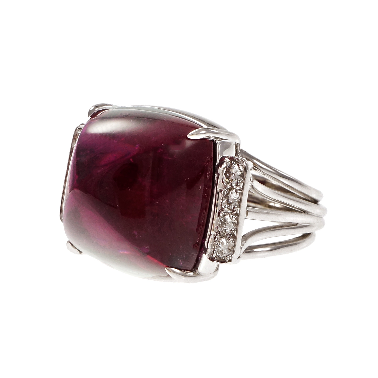 "Image of ""Platinum Large Sugar Loaf Cabochon Rubellite Ring Red Tourmaline Ring"""
